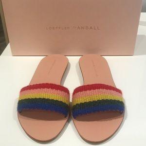 Loeffler Randall Stella woven rainbow slide